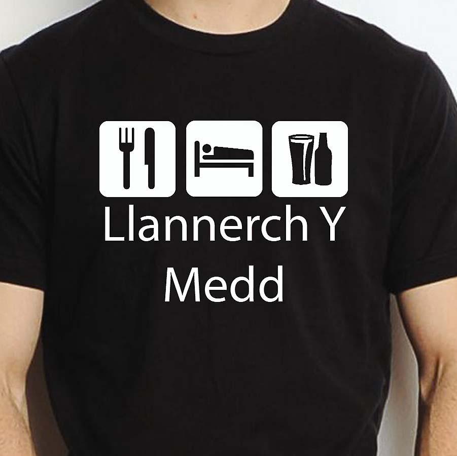 Eat Sleep Drink Llannerchymedd Black Hand Printed T shirt Llannerchymedd Town