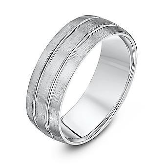 Star Wedding Rings Palladium 950 Light Court Matt With Two Polished Grooves 7mm Wedding Ring