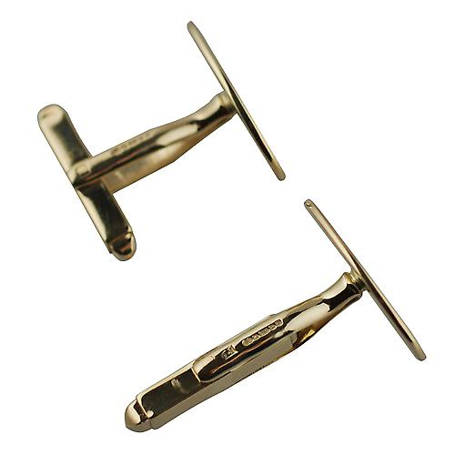 18ct Gold 19x11mm plain swivel Cufflinks