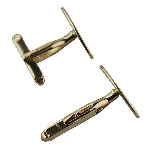 18ct guld 19x11mm slätt svängbara Manschettknapp