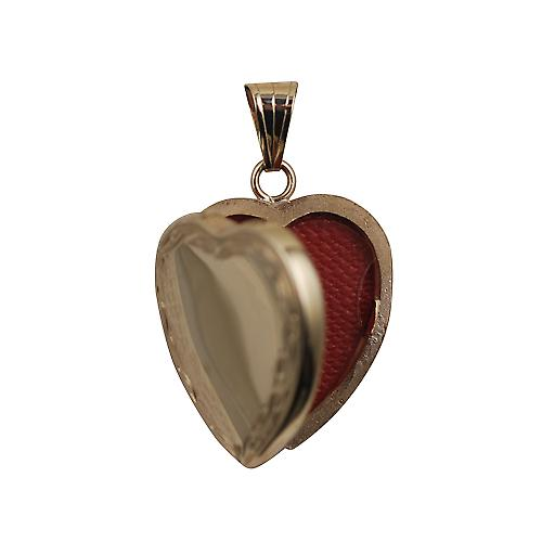 9ct Gold 24x20mm plain centre scroll edge heart shaped Locket