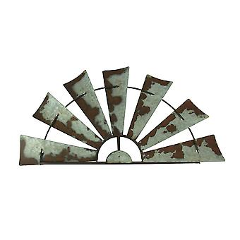 Rusty Weathered Metal Half Windmill Wall Hanging