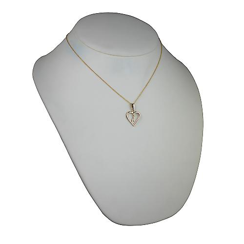 9ct Gold 18x18mm initial A in a heart Pendant with a cable Chain 18 inches