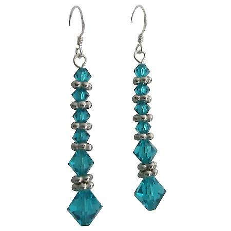 Ethnic Custom Earrings Sterling Silver & Swarovski Blue Zircon Crystal