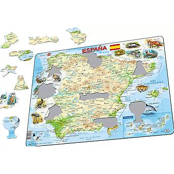 Map of Spain/ Espana with Animals - Frame/Board Jigsaw Puzzle 29cm x 37cm (LRS K84-ES)