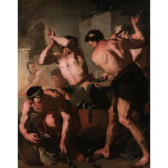 The Forge of Vulcan,Luca Giordano,50x40cm