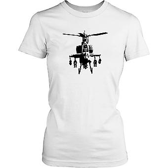 Apache Silhouette - Combat Helicopter Ladies T Shirt