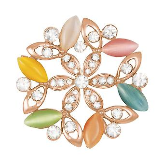 Eternal Collection Mirabelle Floral Cat's Eye And Clear Crystal Scarf Clip