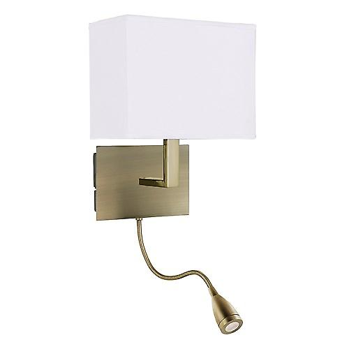 Searchlight 6519AB Wall Light Antique Brass Bracket With Led Flexi Arm and Shade
