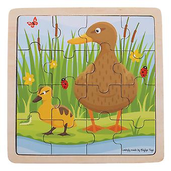 Bigjigs Toys Chunky Wooden Duck & Duckling Jigsaw Puzzle Educational