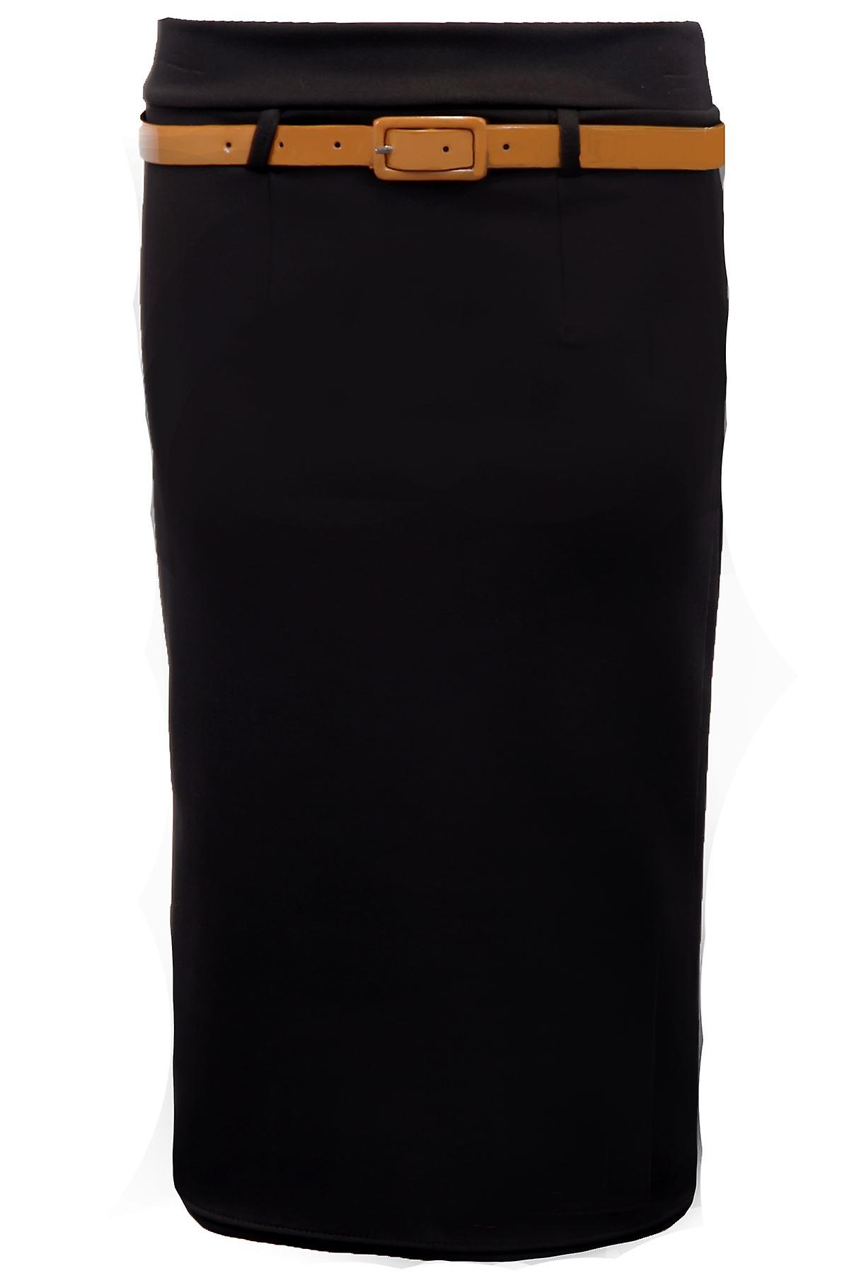 New Ladies Belted Black Mocha Stone Bodycon Womens Belted Pencil Skirt