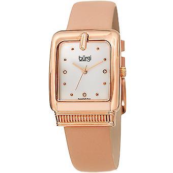 Burgi Women's BUR192 Quartz Diamond Marker Rectangle Case Leather Strap Watch BUR192PK