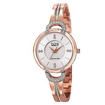 Burgi Women's 30mm Rose Gold Steel Bracelet & Case Mineral Glass Watch  BUR105RG