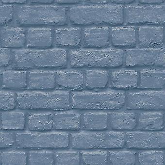 Urban Brick effect blauw behang reliëf getextureerde industriële metallic zilver