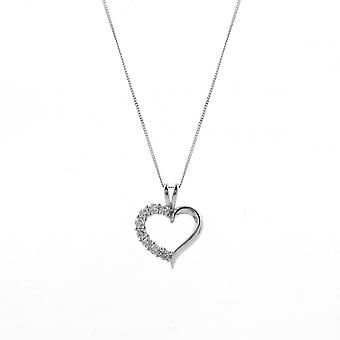 Eternity 9ct White Gold Cubic Zirconia Heart Pendant And 18'' Curb Chain