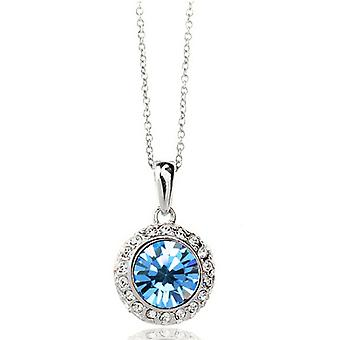 18K White-Gold Plated Amelia Necklace-Light Blue