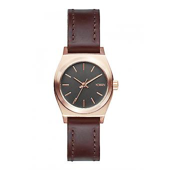 Nixon The Small Time Teller Leather Rose Gold Gunmetal Brown Damenuhr (A5092001)