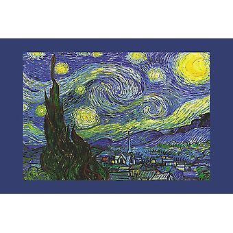 Poster - Studio B - 24x36 Starry Night (Blue Border) Wall Art CJ3455