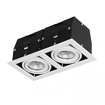 2 Light Twin Recessed Downlight Matt White