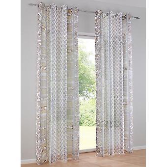 Heine home Set curtain semi-transparent decostore printed offwhite/taupe HxB 245x140 cm