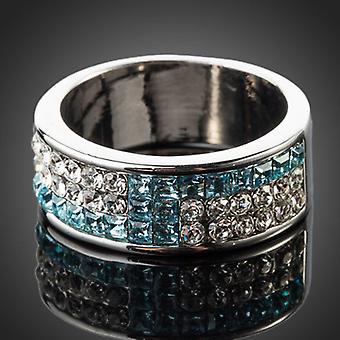 Platinum Plated Blue Paved Band