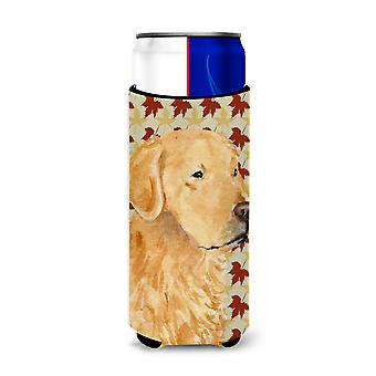 Golden Retriever queda folhas retrato ultra bebidas isoladores para Slim latas SS