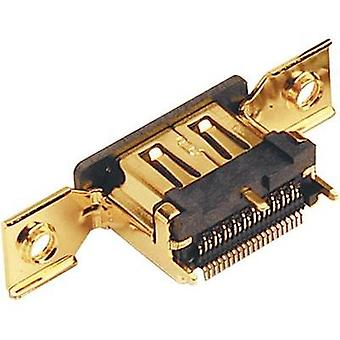 HDMI connector Socket, vertical vertical Number of pins: 19 Gold BKL Electronic 0907002 1 pc(s)