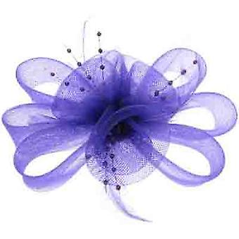 Purple Mesh Flower & Feather Hair Clip / Brooch / Fascinator