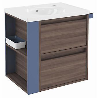Bath+ Cabinet 2 drawers with porcelain sink Fresno-Blue 60CM