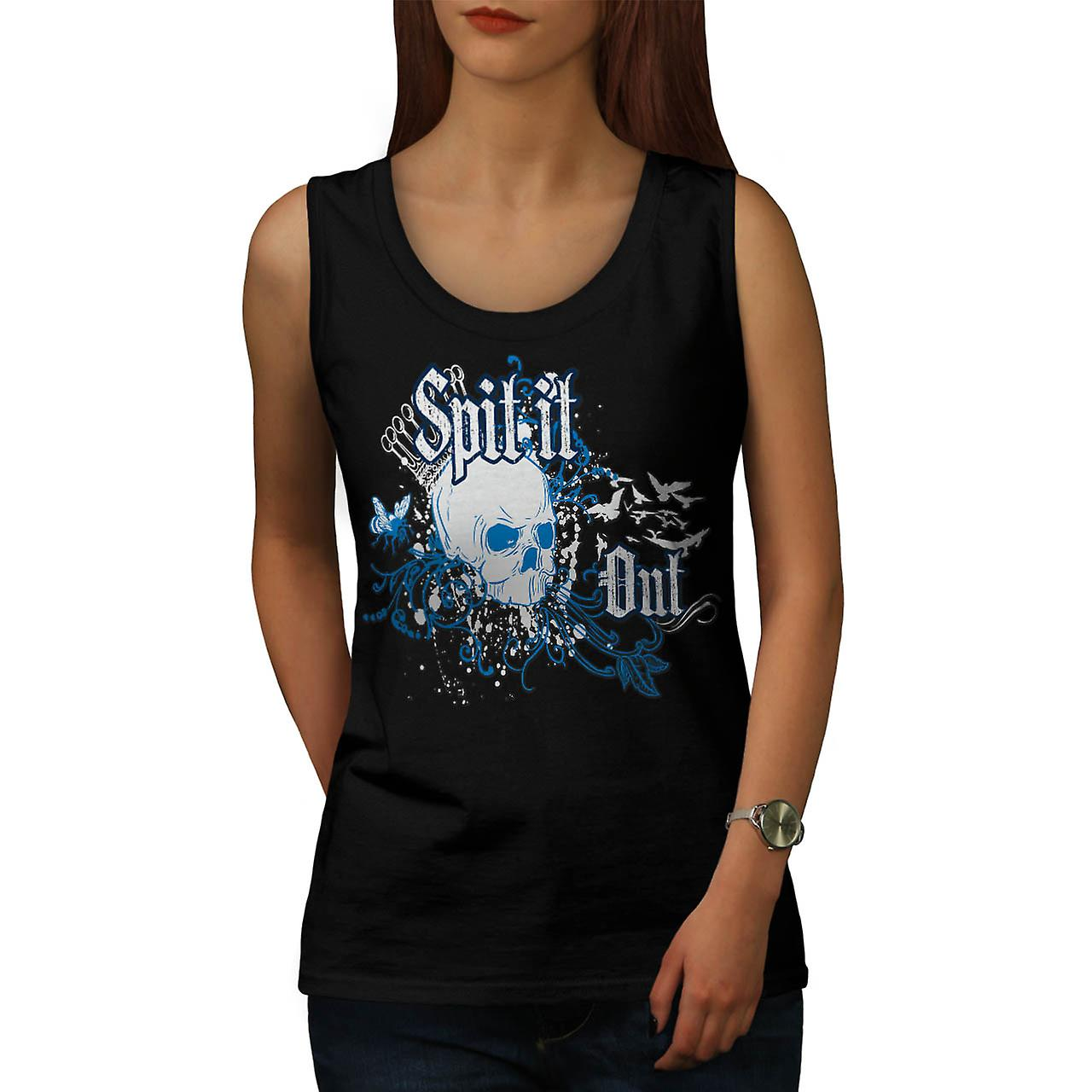 Skull Spit It Out Jaw Death Head Women Black Tank Top | Wellcoda