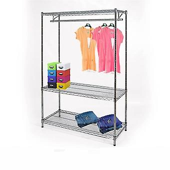 Wire Chrome Shelving Kit - 1 Tier Clothes Rail & 3 Shelves - CWCR104
