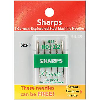 Klasse Sharps Machine Needles-Size 12/80 5/Pkg A5105-8012