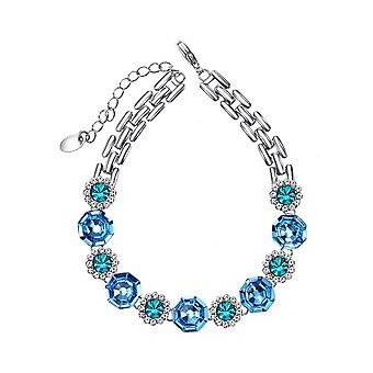 Platinum Plated Swarovski Elements Blue Flower Bracelet, 17cm