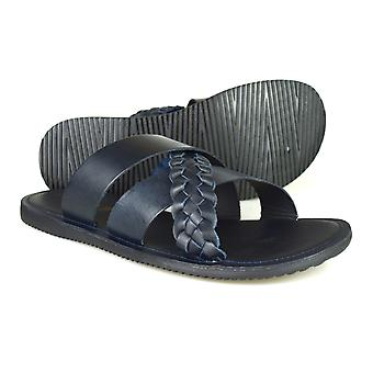 Red Tape Spa Navy Blue Leather Casual Sandals