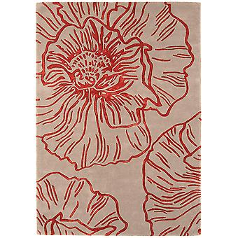 Matrix Natural & Red Floral Wool  Viscose Rug