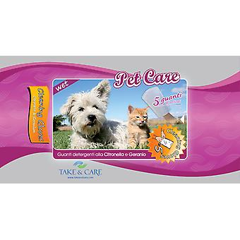 Take&Care Pet Care Wet Cleaning Gloves 5Pk (Pack of 6)
