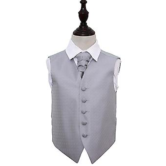 Boy's Greek Key Silver Wedding Waistcoat & Cravat Set