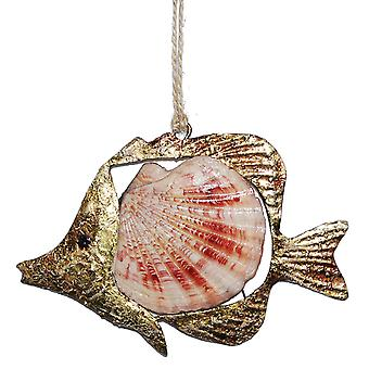 Scallop Shell Golden Fish Christmas Holiday Ornament
