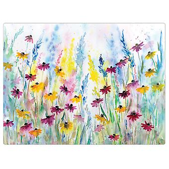 I Style Daisy Field 40 x 30cm Glass Worktop Saver, Smooth Finish