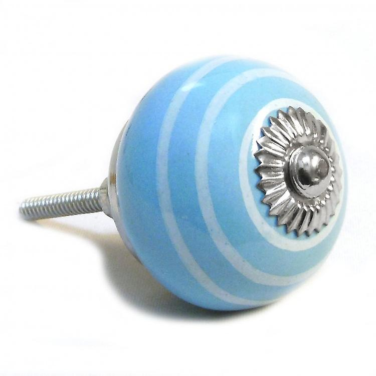 Blue / White Stripes Ceramic Cupboard Knob