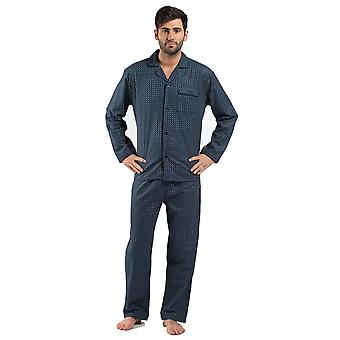 Harvey James Mens 100% Cotton Flannel Spot Pyjama nightwear Grey-Large 46-49