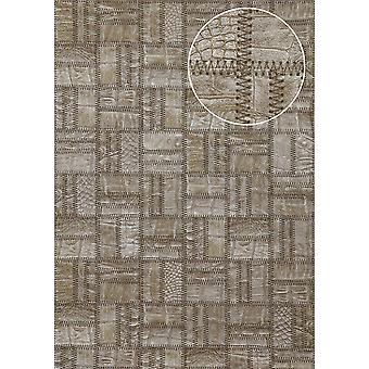Embossed wallpaper Atlas STI-1015-3 non-woven wallpaper embossed in leather optics shimmering 7,035 m2 perl gold Brown grey beige perl-beige