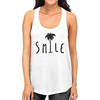 Smile Palm Tree kvinnor vit ärmlös skjorta sommar bomull tankar