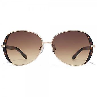Carvela Metal Butterfly Sunglasses In Light Gold & Tortoiseshell