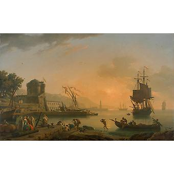 Claude Joseph Vernet - A Grand View of the Sea Poster Print Giclee