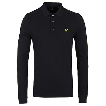 Lyle & Scott True Black Long Sleeve Pique Polo Shirt