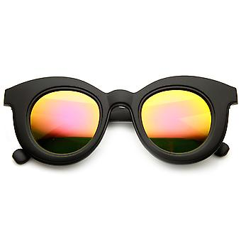 Bold Oversized Flash Mirror Lens Round Horn Rimmed Sunglasses
