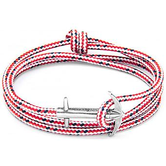 Anchor and Crew Admiral Silver and Rope Bracelet - Red Dash
