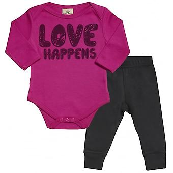 Spoilt Rotten LOVE Happens Babygrow & Jersey Trousers Outfit Set