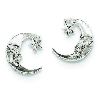 Sterling zilveren solide gepolijste Post oorbellen maan Mini voor jongens of meisjes oorbellen -.9 gram